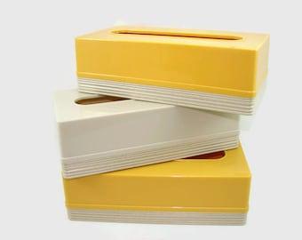 3 Vintage Yellow and Cream Tissue Box Covers, Plastic Kleenex Box Holders