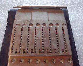 Antique Tasco Arithmometer Pocket Calculator / Adding Machine Calculator
