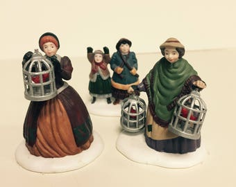 Department 56 The Bird Seller Dickens Village Accessory Set of 3