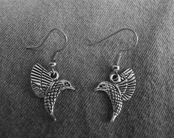 Beautiful pair of Silver Earrings with Hummingbird and Hypoallergenic Surgical Steel Ear Wires