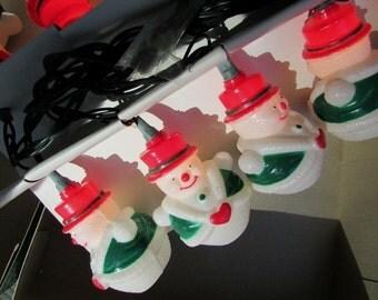 Snowman Lights Vintage Christmas Tree Novelty Lights