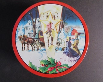 Fruit Cake Tin Vintage Deluxe Christmas Tin Texas Bakery