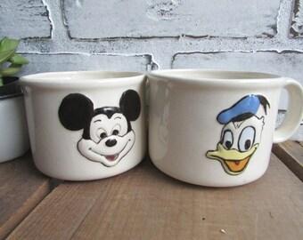 Mugs Vintage Mickey Mouse Donald Duck White Ceramic Handmade