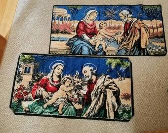 Tapestry, Christmas, Baby Jesus, Mary, Joseph, Italy