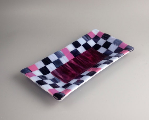 Checkerboard Fused Glass Tray in Purples and Pink FB4705