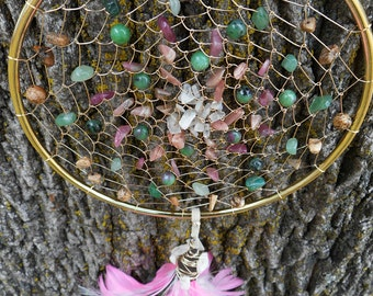 "Cancer Sign Astrological Hand Woven Gold 5"" Dream Catcher by The Emerald Lotus"