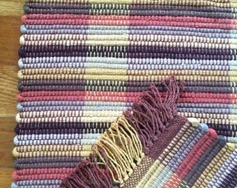Terracotta, Cream, Mustard, and Earth Toned Rag Rug Handwoven in Nicaragua