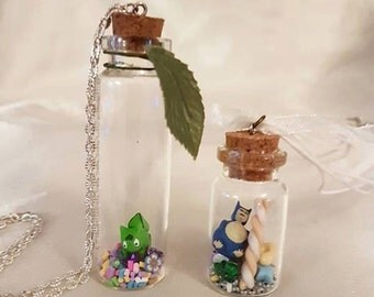 Polymer Clay Pokemon in a Glass Jar with Candy Kawaii Charm Necklaces | Snorlax | Bulbasaur