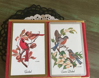 Bird Playing Cards / Vintage Double Deck Playing Cards Birds by Congress Cel-U-Tone Finish Good condition