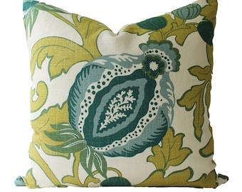 Decorative Designer, Teal, Chartreuse, Floral Pillow Cover, 18x18, 2x20, 22x22 or Lumbar Throw Pillow