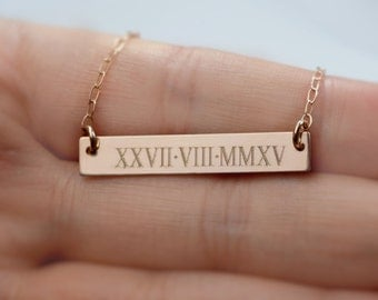 roman numeral necklace - Personal Name Bar Necklace-Silver, Gold & Rose Gold colors - Mother's Day gifts , Birthday Gift, Gift for Her