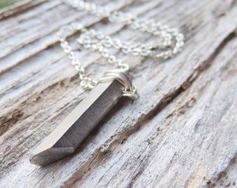Raw Fancy Iris Quartz Point Necklace, Healing Crystals Necklace