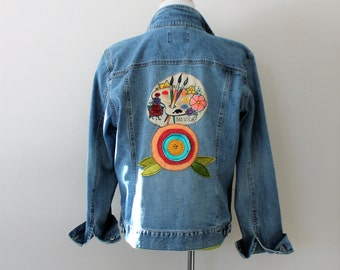 Frida Kahlo Women's Denim Jean Jacket Size XL / Funky Unique Boho Clothing / Day of the Dead