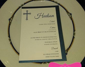 PINK or BLUE Double Layer Party Menu - all colors, Great for Communion, Baby Showers, 1st Birthday, or Christening