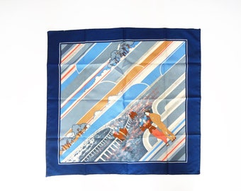 Vintage Horse Races Scarf with 1920s Illustration in Navy Blue, Light Blue, Red, and Cream