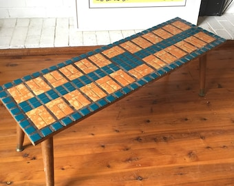 Vintage Tiled Coffee Table in teal and orange. Pick Up Sydney