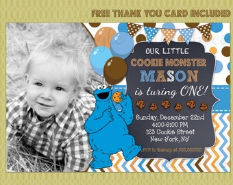 Cookie Monster Invitation, Cookie Monster Birthday Invitation, Cookie Monster Printable Invitation, Sesame Street