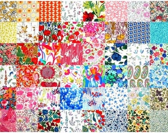 "Liberty Fabric 48 Mini 2.5"" Charm Square Bundle Patchwork Quilting Medium Bright Colours Floral Patterns Cotton Tana Lawn"