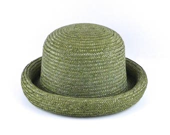 Olive Green Straw Hat with Rolled Brim and Tall Top Vintage