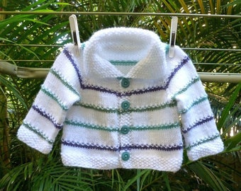 MADE to ORDER Newborn baby hand knit cardigan, knit baby sweater, unisex white and aqua stripes cardigan, baby gift, modern baby clothes