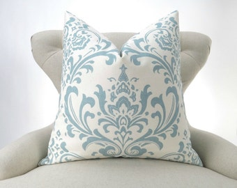 Throw Pillow Cover, blue damask pattern -MANY SIZES- Egg Blue Euro Sham, Light Blue Cushion, Ecru/Off-White, Traditions Village