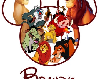 Custom Personalized Lion King Mickey Head Iron on Transfer Decal(iron on transfer, not digital download) disney iron on