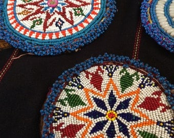 Pair of Coordinated Large Vintage Hand Beaded Tribal Medallions for Costuming or Home Decor