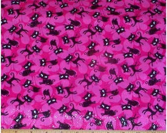 Black Cats Sparkle Glitter Hot Pink Fabric -