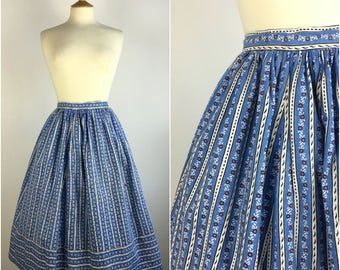 Vintage 1950s Skirt - 50s Blue Striped Circle Skirt - Cotton Pleated Swing Skirt - Full Skirted - Rockabilly Pinup - UK 8 Small Waist 26""