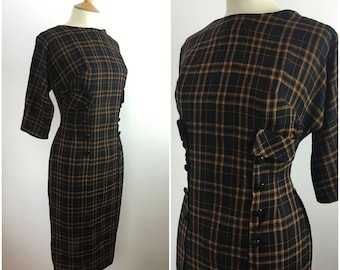 1950s Jeanne Juniors Dress - 50s Wiggle Dress - 50s Orange Black Checked Dress  - Plaid Sheath dress - Pinup - Small - UK 8 / US 4 / EU 36 -