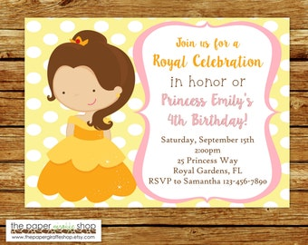 Belle Invitation | Princess Belle Birthday Party | Princess Invitation | Princess Party | Beauty & The Beast Party | Belle Birthday Invite