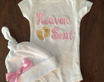 Take home - Newborn Girl  Outfit-Baby Girls onesie- monogrammed hat baby pink Heaven Sent- So sweet.