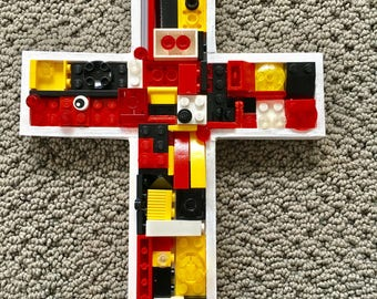 Handmade mosaic cross,  communion, baby gift, toy brick cross, christening