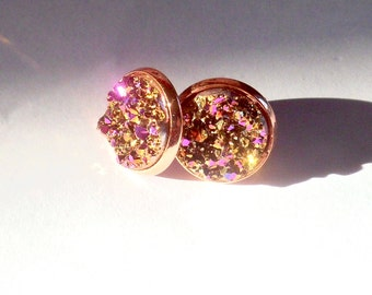 Rose gold  druzy stud earrings, rainbow earrings, 12mm rose gold earrings, rainbow druzy studs