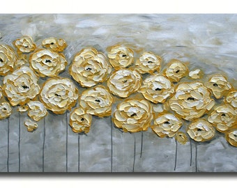 Original Modern  Yellow Gray  Flowers  Heavy  Impasto  Texture  Palette Knife Acrylic   Painting.
