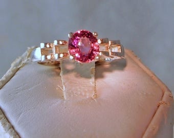 Pink Spinel Ring, 1.38 Carat, Sterling Silver  Filigree Ring, Size 6 1/2