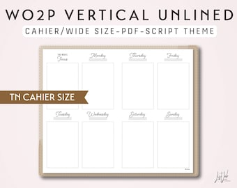 CAHIER Size TN Week on 2 Pages Vertical WO2P - Printable Traveler's Notebook Insert - Script Theme