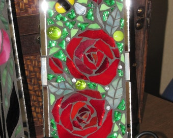 Gorgeous Stained Glass Mosaic Panel with Roses and Bee