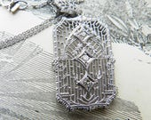 Art Deco Diamond Pendant Necklace 1920s White Gold Filigree Old Cut Diamond Bridal Necklace Diamond Natural Bridal Jewelry Gifts for Women