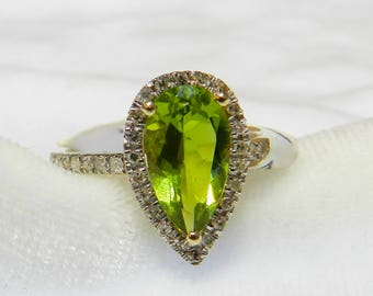 Peridot Ring 14K Peridot Engagement Ring Diamond Halo 3 Carat Peridot Ring August Birthday Gift for Women