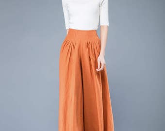 yellow linen pants, loose trousers women, loose pants women, long pants,  plus size pants, plus size trousers, office pants    C1042