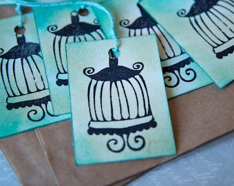 Gift tags make hand, set of 10, stamps and inks 4.5 mm x 6.5 mm paper 250 g/m2