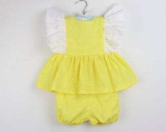 Girl Outfit -  Yellow swiss dots top with white embroidered flutter sleeves and yellow swiss dots bloomers - Available in more colors