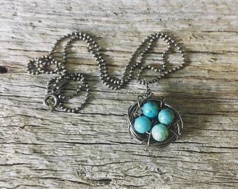 Recycled Sterling Silver Mother's Nest Necklace, Recycled Sterling Silver Bird Nest Necklace