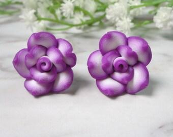 Purple Frangipani Flower Soft Ceramic Clay Stud Earrings 0210