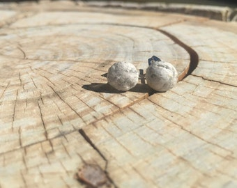Round Paper Stud Earrings Made from Recycled Paper