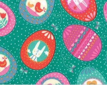 Moda-Spring Bunny Fun by Stacy Iset Hsu Eggs in Turquoise 20542-14
