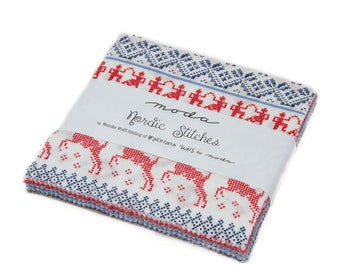 """Moda-Nordic Stitches Charm Pack by Wenche Wolff Hatling 42 5"""" x 5"""" Pre~Cut Squares"""