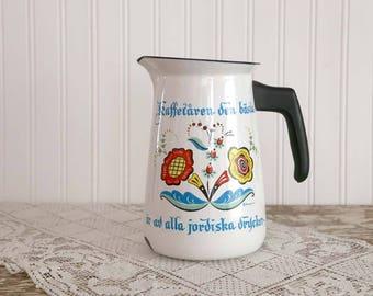 Vintage Swedish Berggren Coffee Pot, Water Pitcher, Rosemaling Design Enamel Coffee Pot, Enamel Pot, Scandinavian Coffee Pot