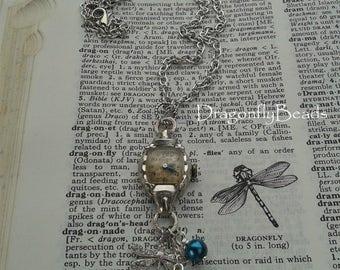Vintage Watch Necklace, Vintage Bulova Watch, Vintage Jewelry, Vintage Watch Jewelry, Dragonfly Necklace, Dragonfly Jewelry, Blue Pearl